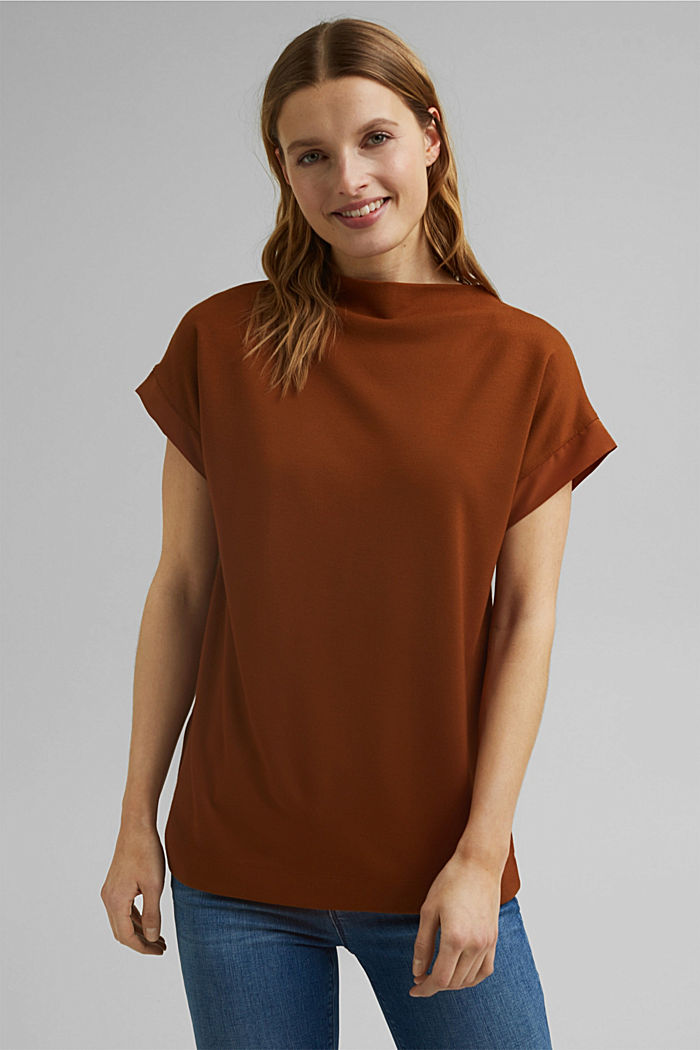 Turtleneck top with satin details, TOFFEE, detail image number 0