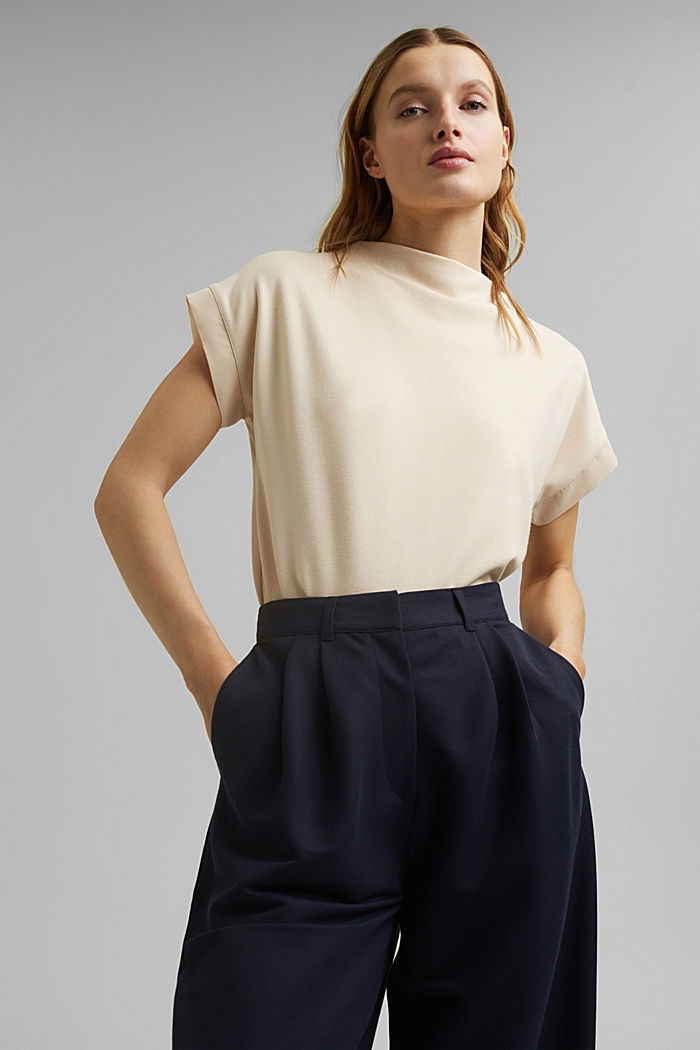 Turtleneck top with satin details