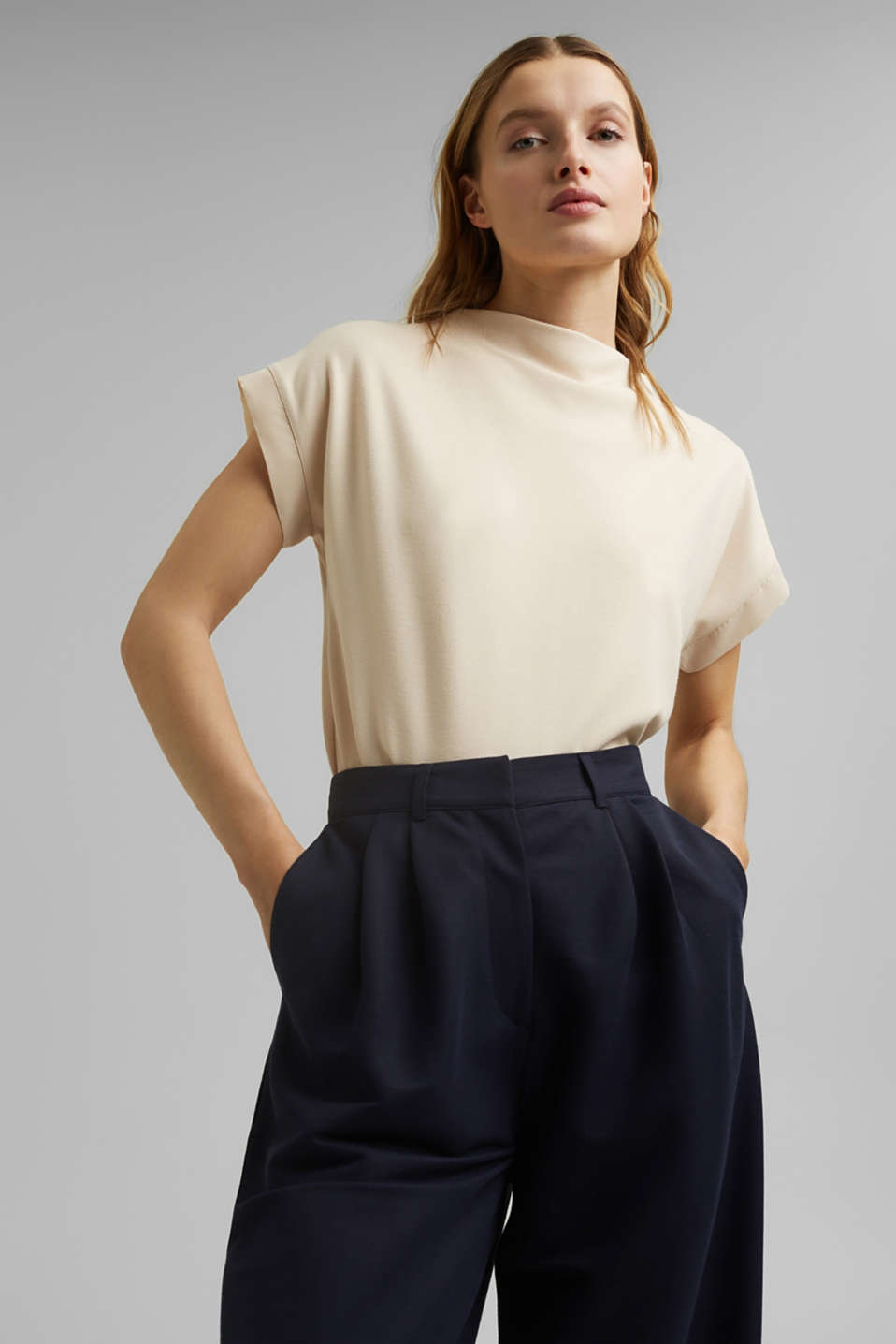 Esprit - Turtleneck top with satin details