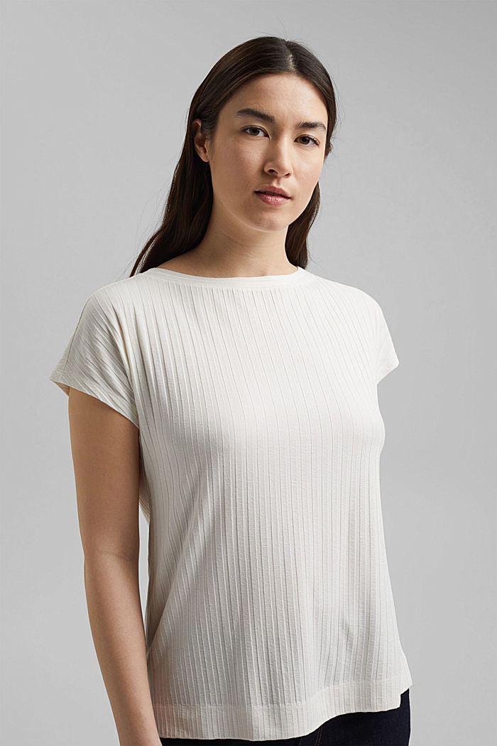 Ribbed top made of LENZING™ ECOVERO™ viscose, OFF WHITE, detail image number 0