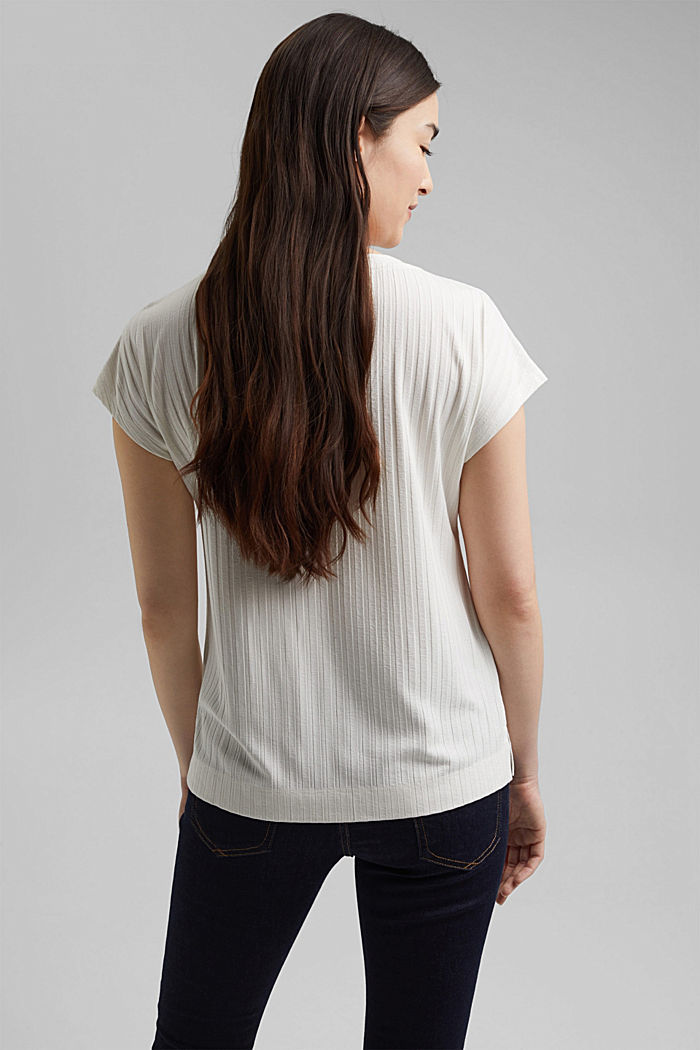 Ribbed top made of LENZING™ ECOVERO™ viscose, OFF WHITE, detail image number 3
