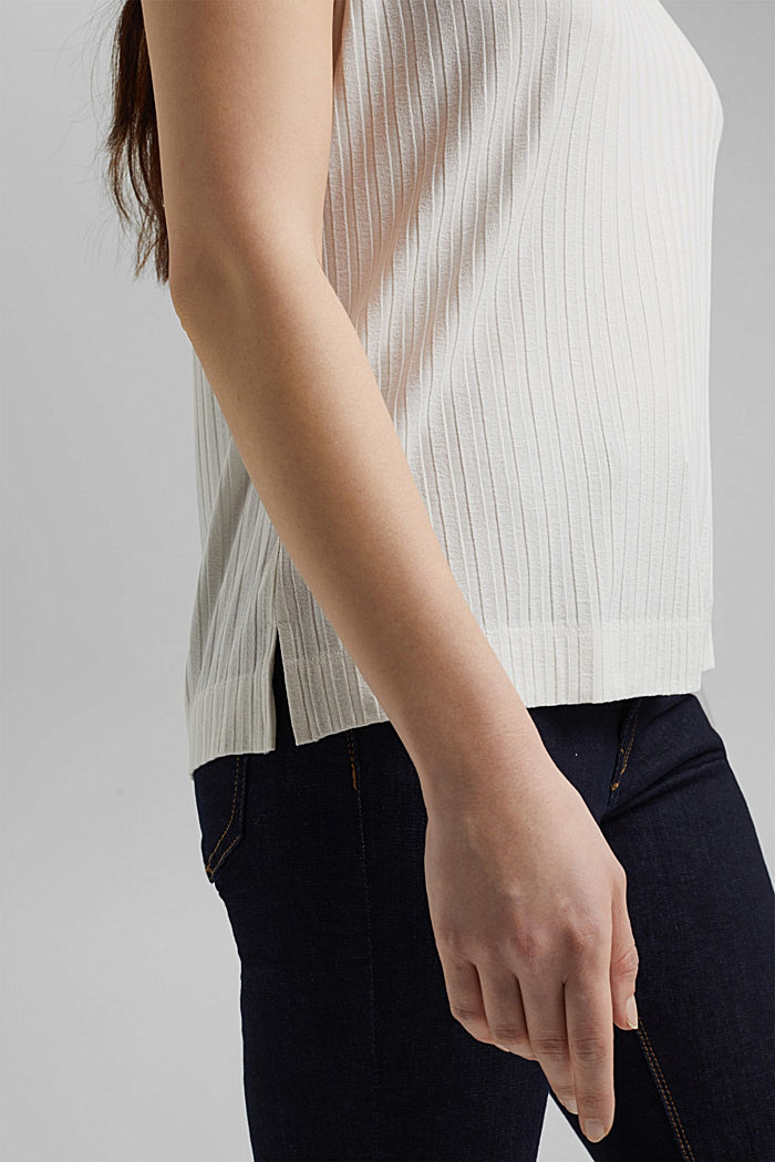 Ribbed top made of LENZING™ ECOVERO™ viscose, OFF WHITE, detail image number 5
