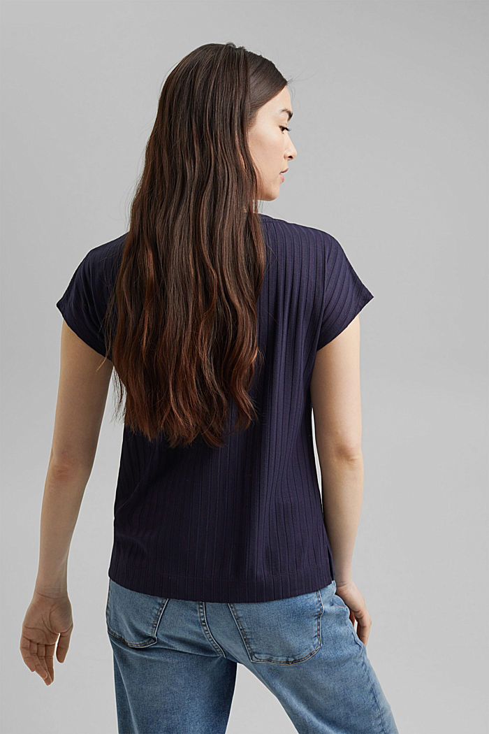 Ribbed top made of LENZING™ ECOVERO™ viscose, NAVY, detail image number 3
