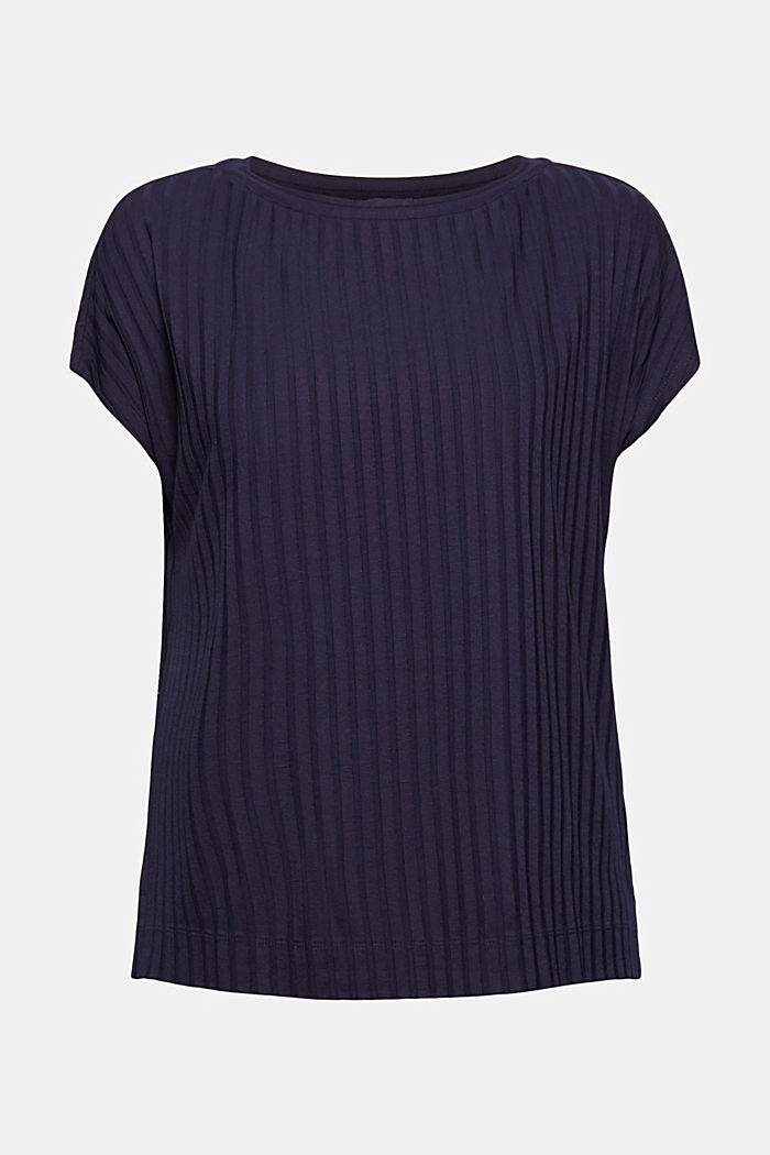 Ribbed top made of LENZING™ ECOVERO™ viscose, NAVY, overview
