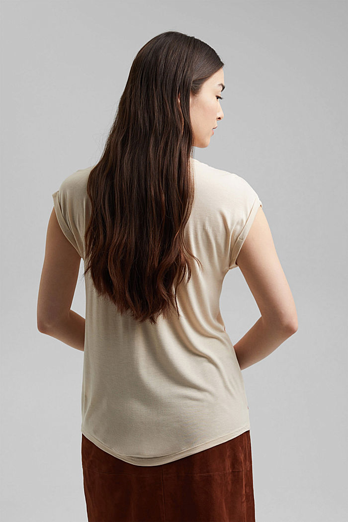 Art print T-shirt made of LENZING™ ECOVERO™, CREAM BEIGE, detail image number 3
