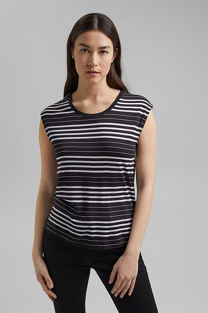 Striped T-shirt made of 100% lyocell, BLACK, detail image number 0