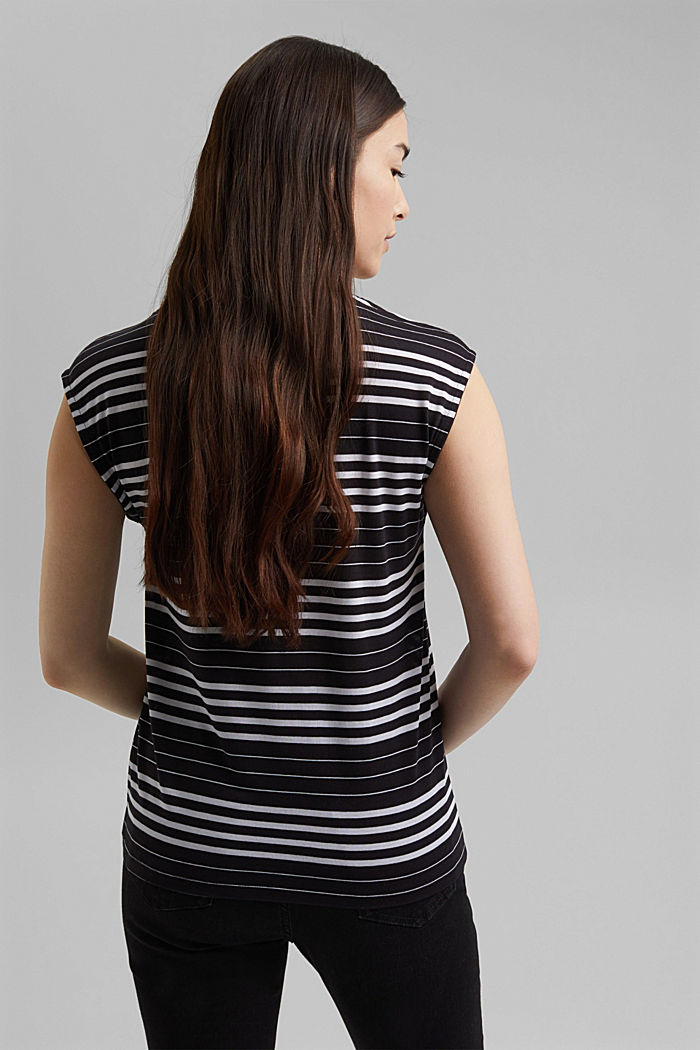 Striped T-shirt made of 100% lyocell, BLACK, detail image number 3