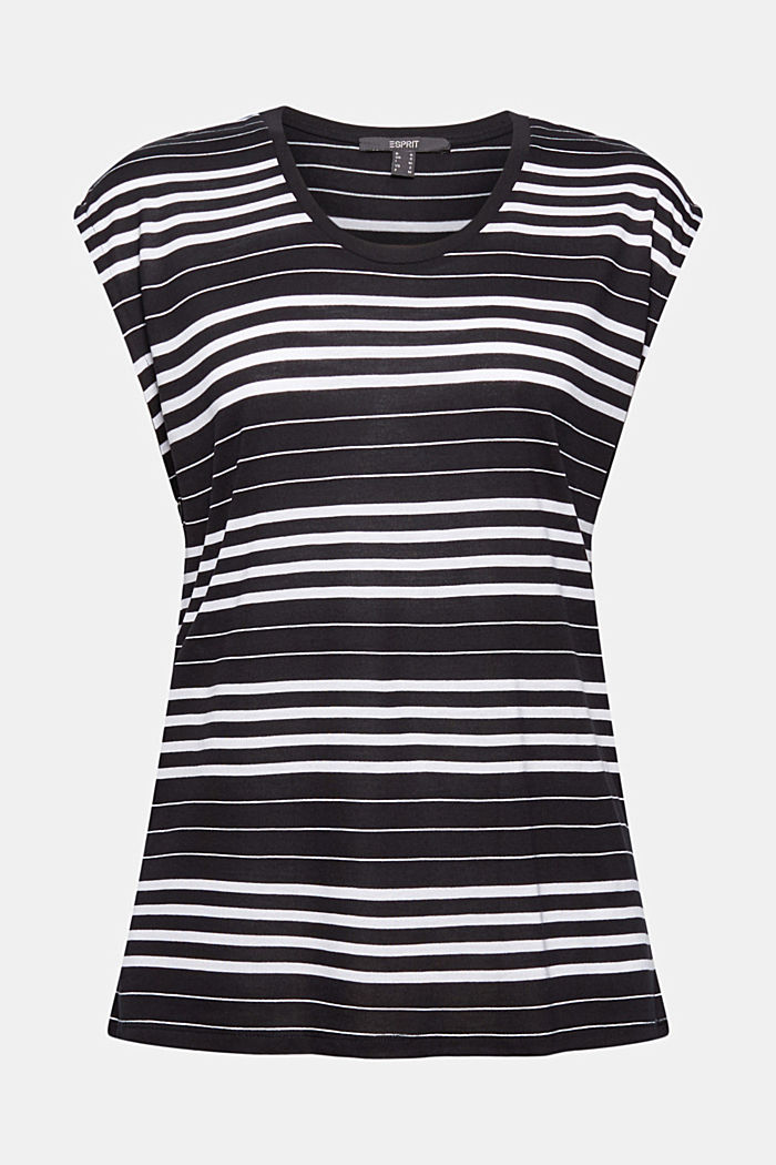 Striped T-shirt made of 100% lyocell, BLACK, detail image number 5