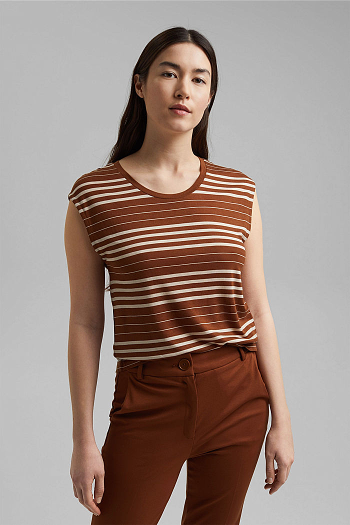 Striped T-shirt made of 100% lyocell, TOFFEE, detail image number 1