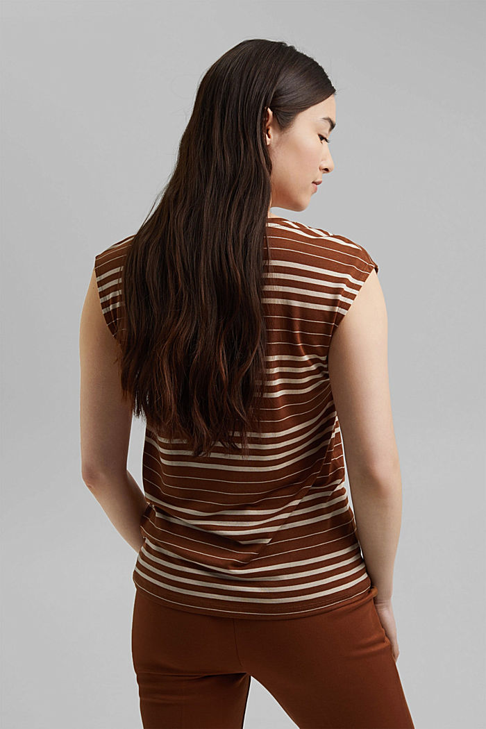 Striped T-shirt made of 100% lyocell, TOFFEE, detail image number 3