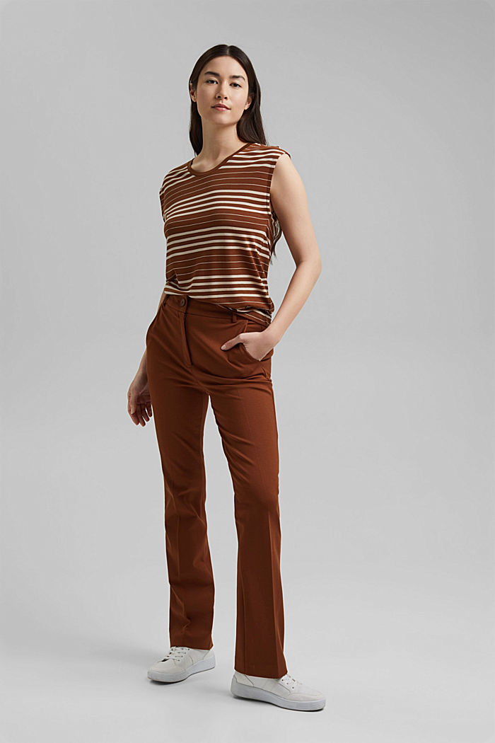 Striped T-shirt made of 100% lyocell, TOFFEE, detail image number 5
