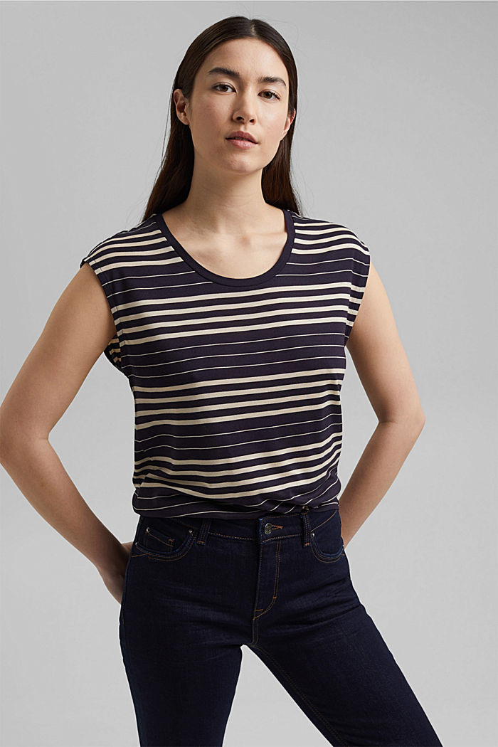 Striped T-shirt made of 100% lyocell, NAVY, detail image number 0