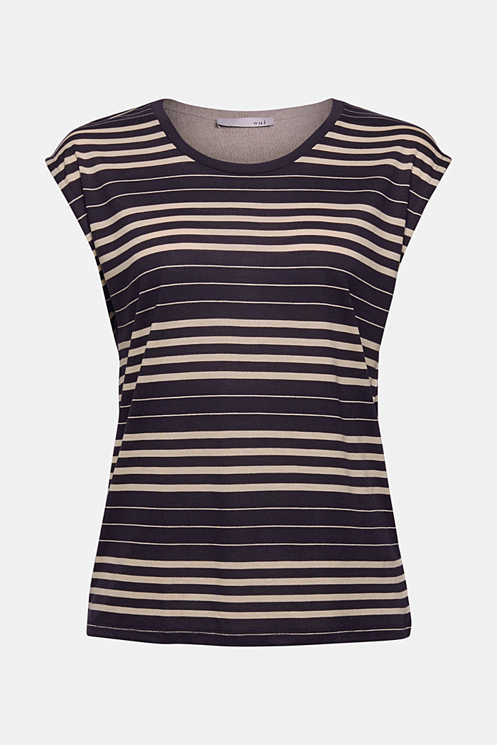 Striped T-shirt made of 100% lyocell, NAVY, detail image number 5