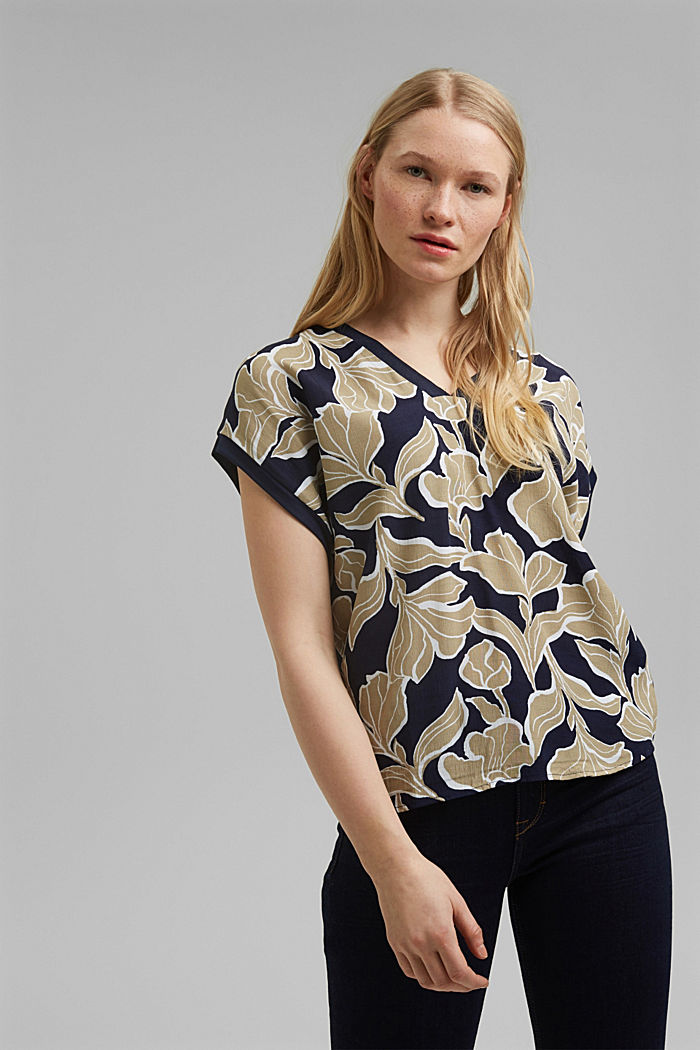 Blouse top made of LENZING™ ECOVERO™, NAVY, overview