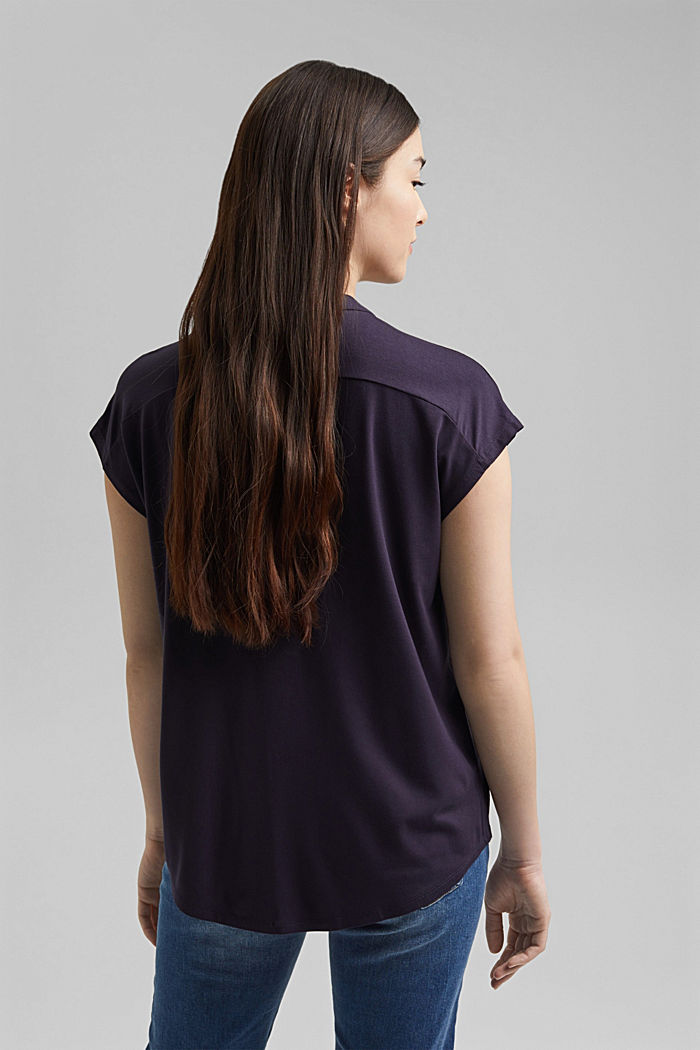 Jersey top with LENZING™ ECOVERO™, NAVY, detail image number 3
