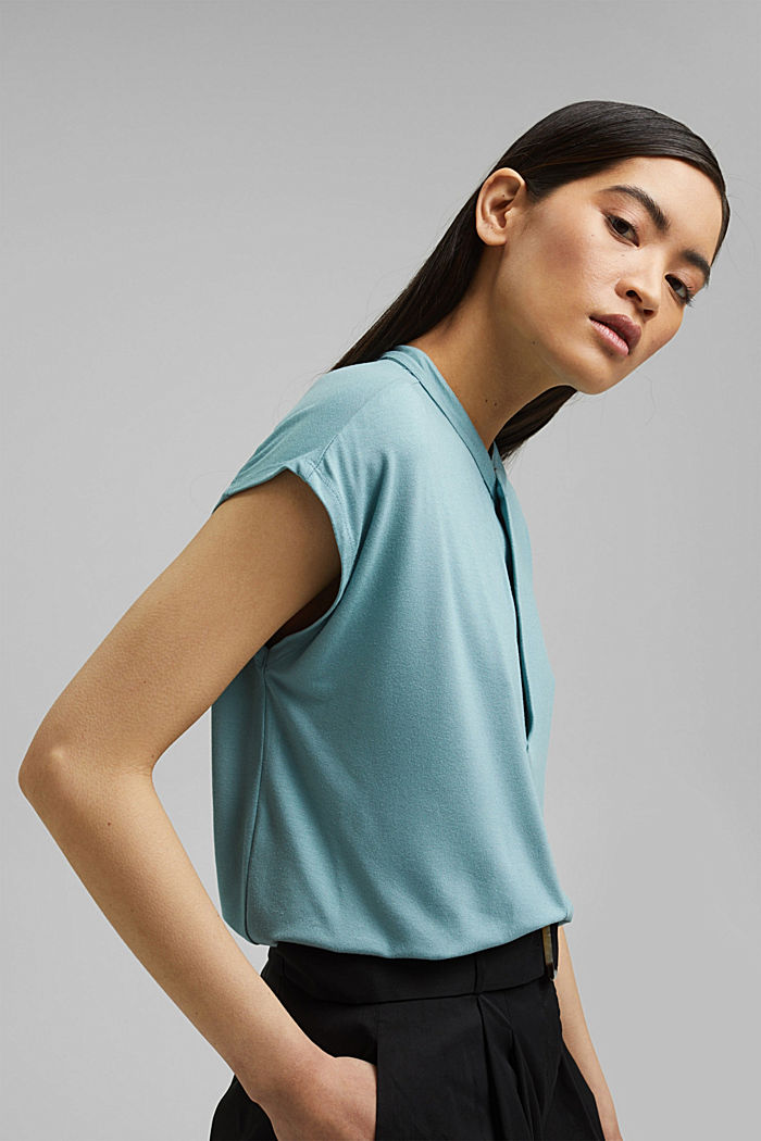 Jersey top with LENZING™ ECOVERO™, DARK TURQUOISE, detail image number 0