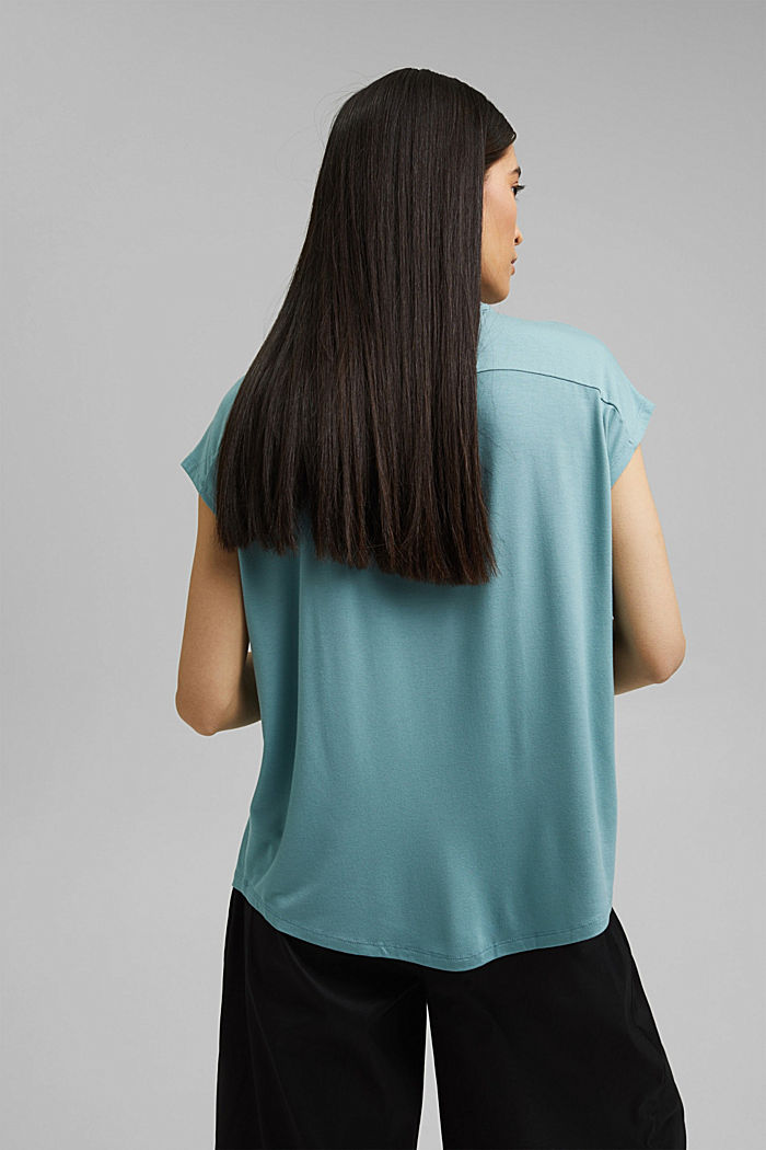 Jersey top with LENZING™ ECOVERO™, DARK TURQUOISE, detail image number 3