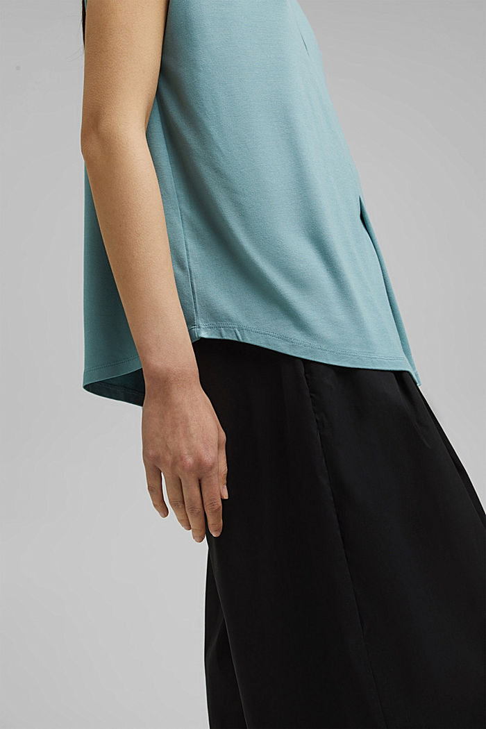 Jersey top with LENZING™ ECOVERO™, DARK TURQUOISE, detail image number 2