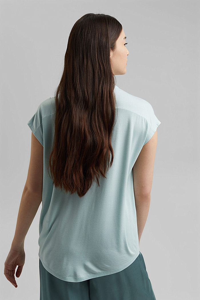 Jersey top with LENZING™ ECOVERO™, LIGHT TURQUOISE, detail image number 3