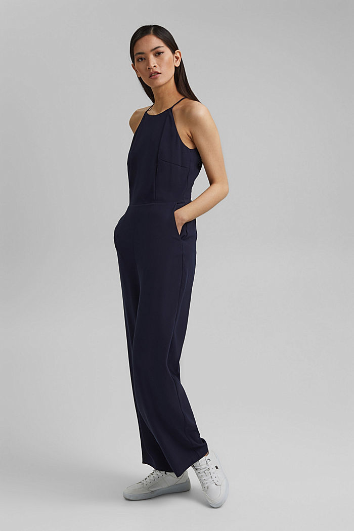 Halterneck jumpsuit trimmed with lace, NAVY, detail image number 0