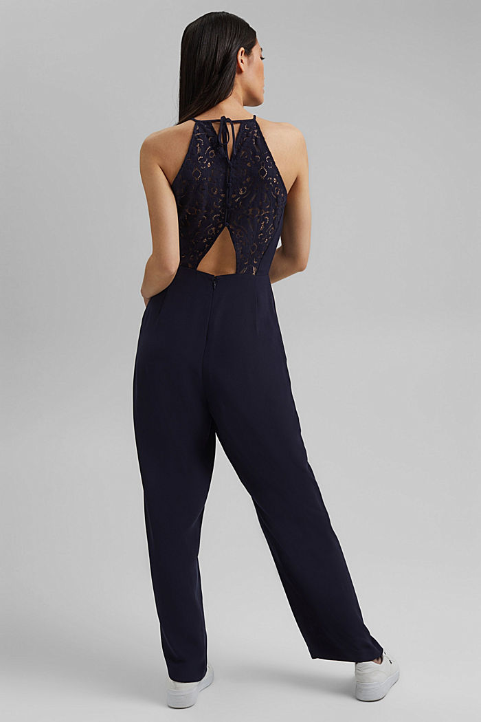 Halterneck jumpsuit trimmed with lace, NAVY, detail image number 3