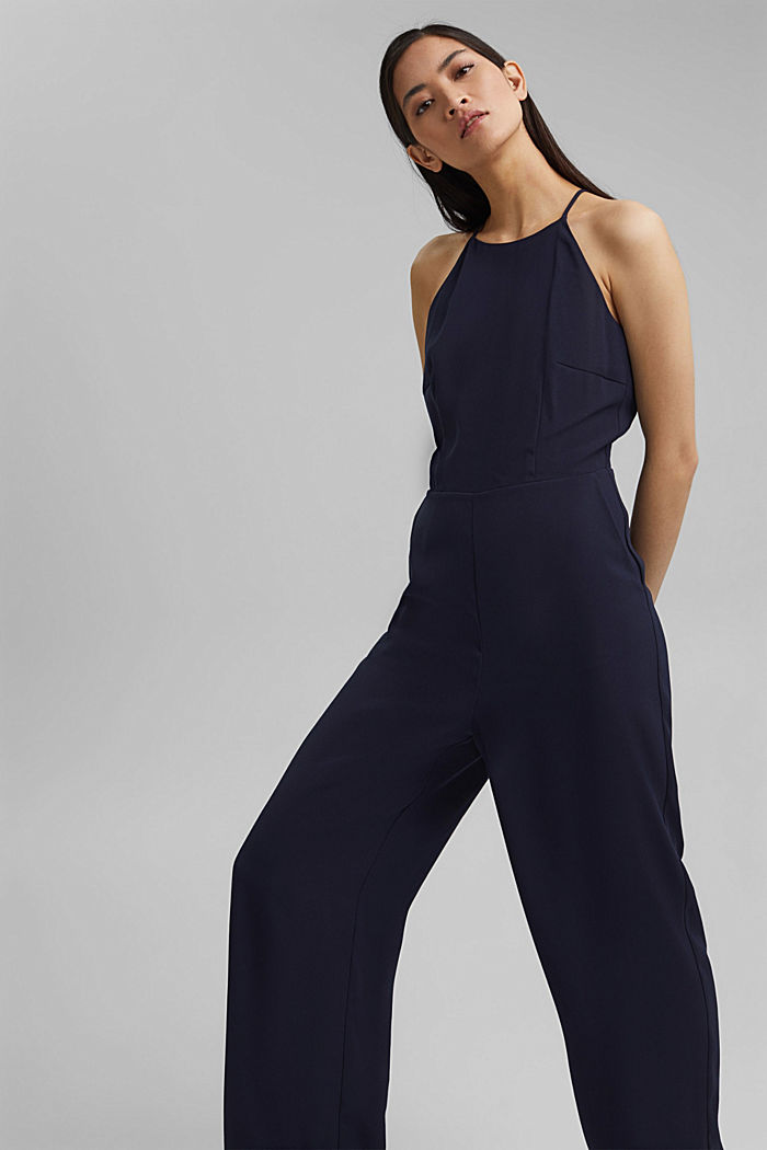 Halterneck jumpsuit trimmed with lace, NAVY, detail image number 5