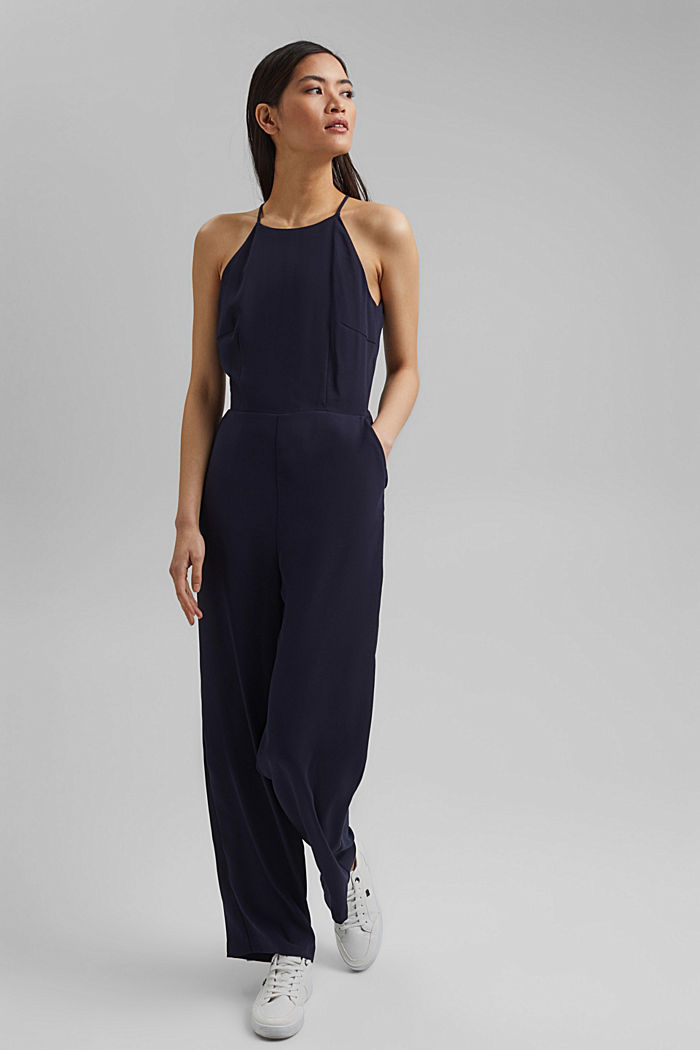 Halterneck jumpsuit trimmed with lace, NAVY, detail image number 1