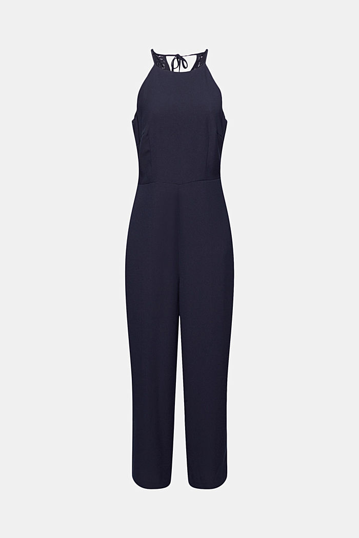 Halterneck jumpsuit trimmed with lace, NAVY, detail image number 6