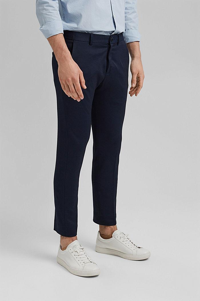 Pantalón de traje de jersey con diseño bicolor, DARK BLUE, detail image number 0