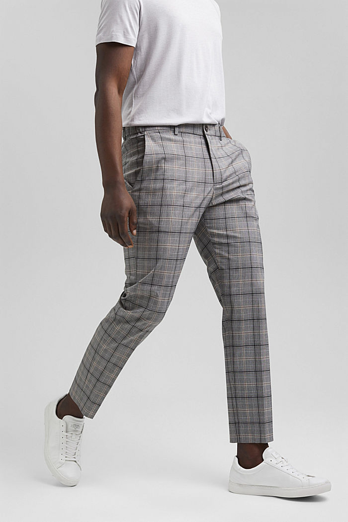 Check mix + match trousers with COOLMAX®, GREY, detail image number 0
