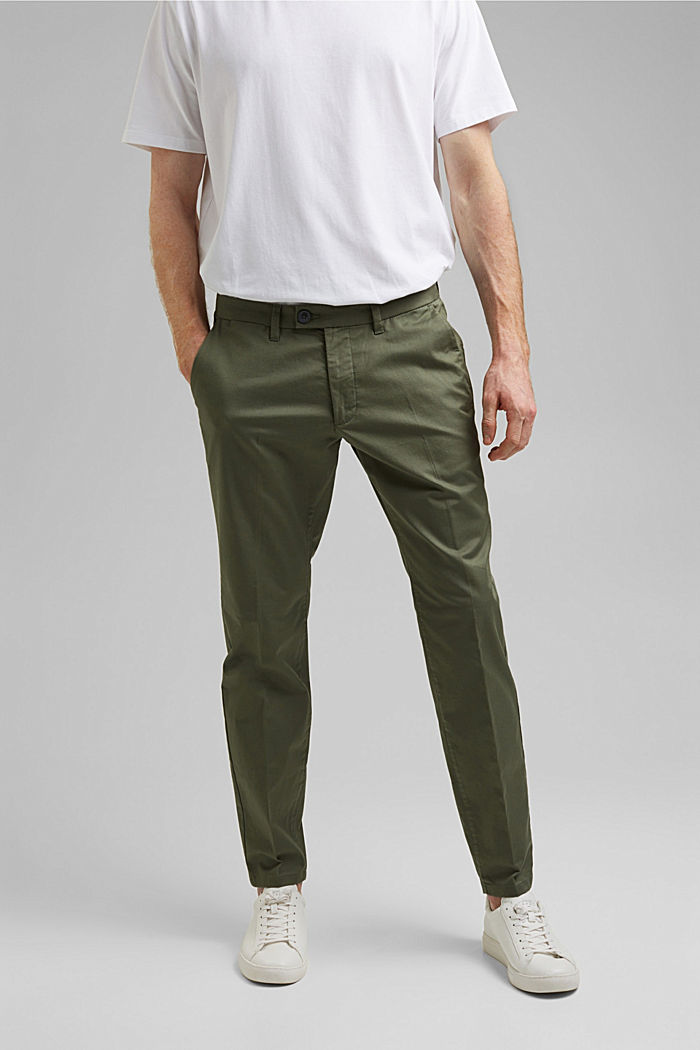 Trousers made of organic cotton with Lycra xtra life™, LIGHT KHAKI, detail image number 0