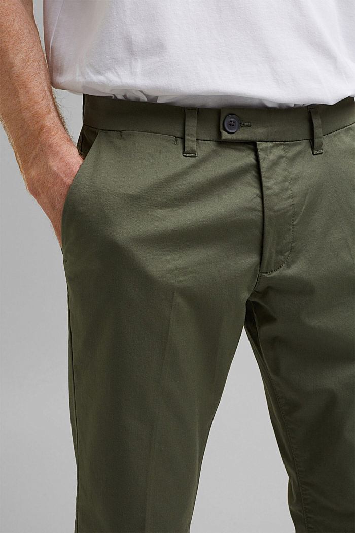 Trousers made of organic cotton with Lycra xtra life™, LIGHT KHAKI, detail image number 2