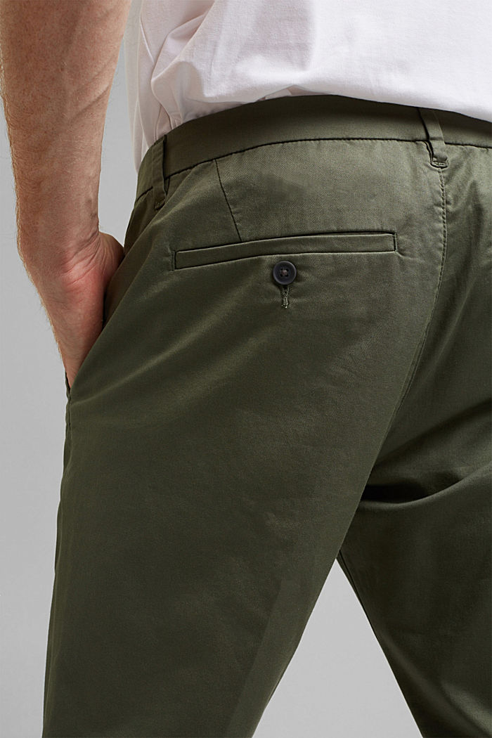 Trousers made of organic cotton with Lycra xtra life™, LIGHT KHAKI, detail image number 5