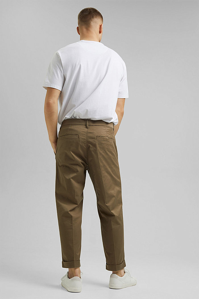 Cropped stretch trousers with organic cotton, BEIGE, detail image number 3
