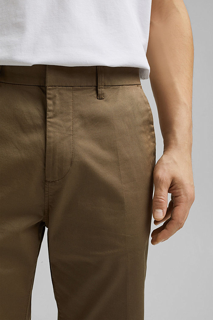 Cropped stretch trousers with organic cotton, BEIGE, detail image number 2