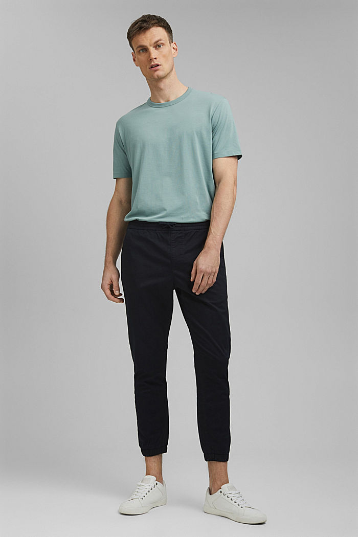 Ankle-length tracksuit bottoms in organic cotton, BLACK, detail image number 1