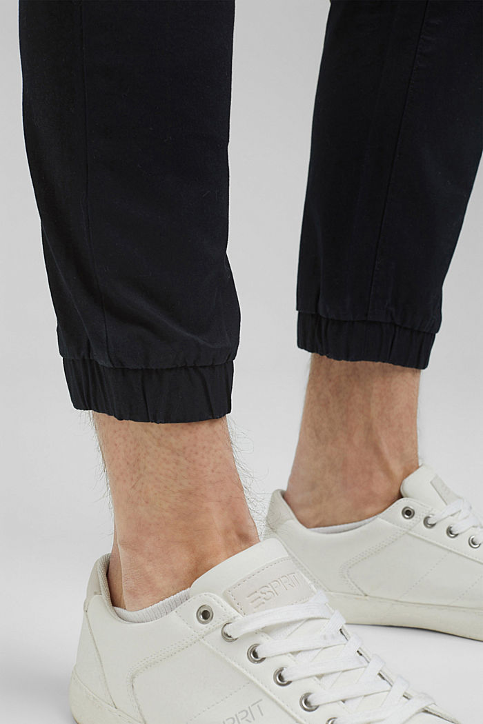 Ankle-length tracksuit bottoms in organic cotton, BLACK, detail image number 5