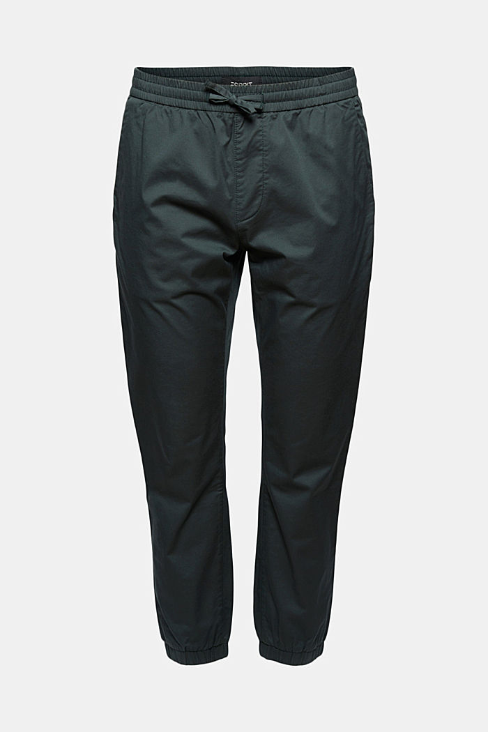 Ankle-length tracksuit bottoms in organic cotton, DARK TEAL GREEN, detail image number 7
