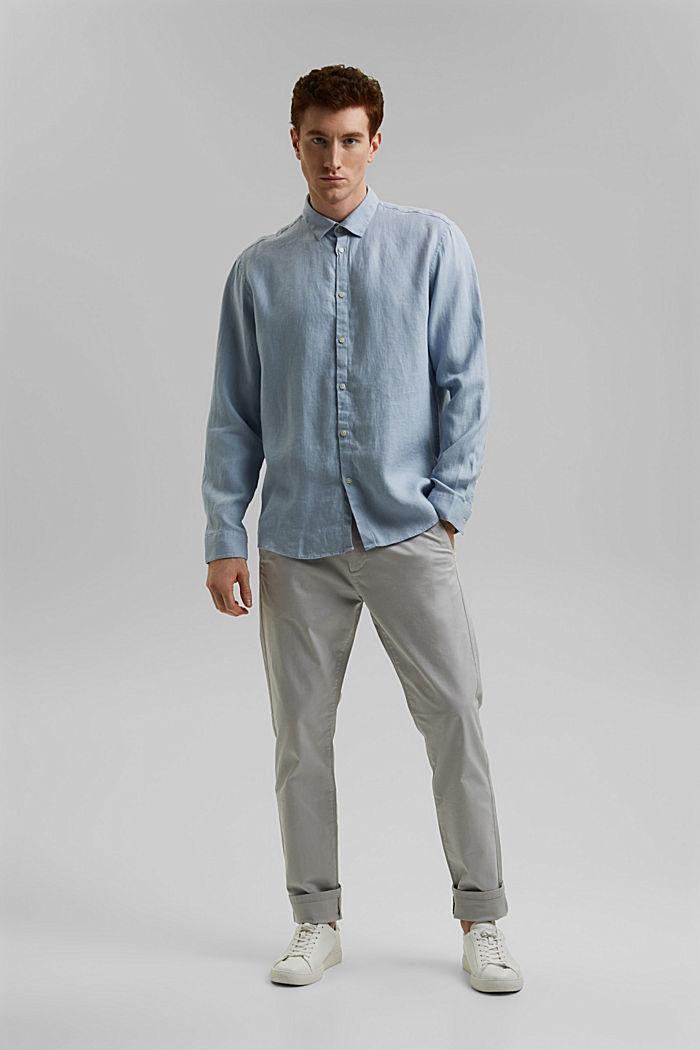 Premium shirt made of 100% hemp, LIGHT BLUE, detail image number 6