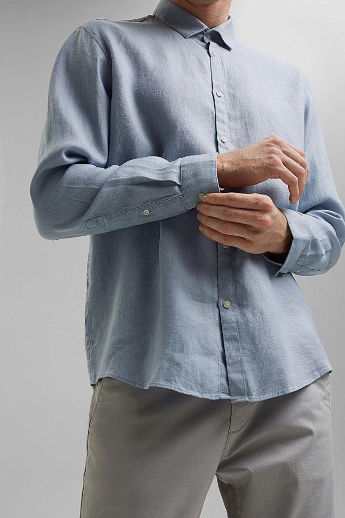 Premium shirt made of 100% hemp, LIGHT BLUE, detail image number 2