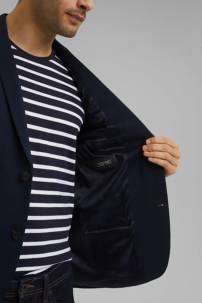 Kohokuvioitu pikkutakki jerseytä, DARK BLUE, detail image number 6