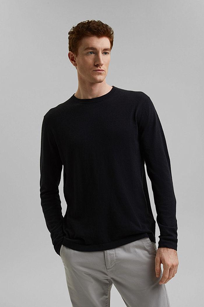 Met hennep: fijngebreide trui