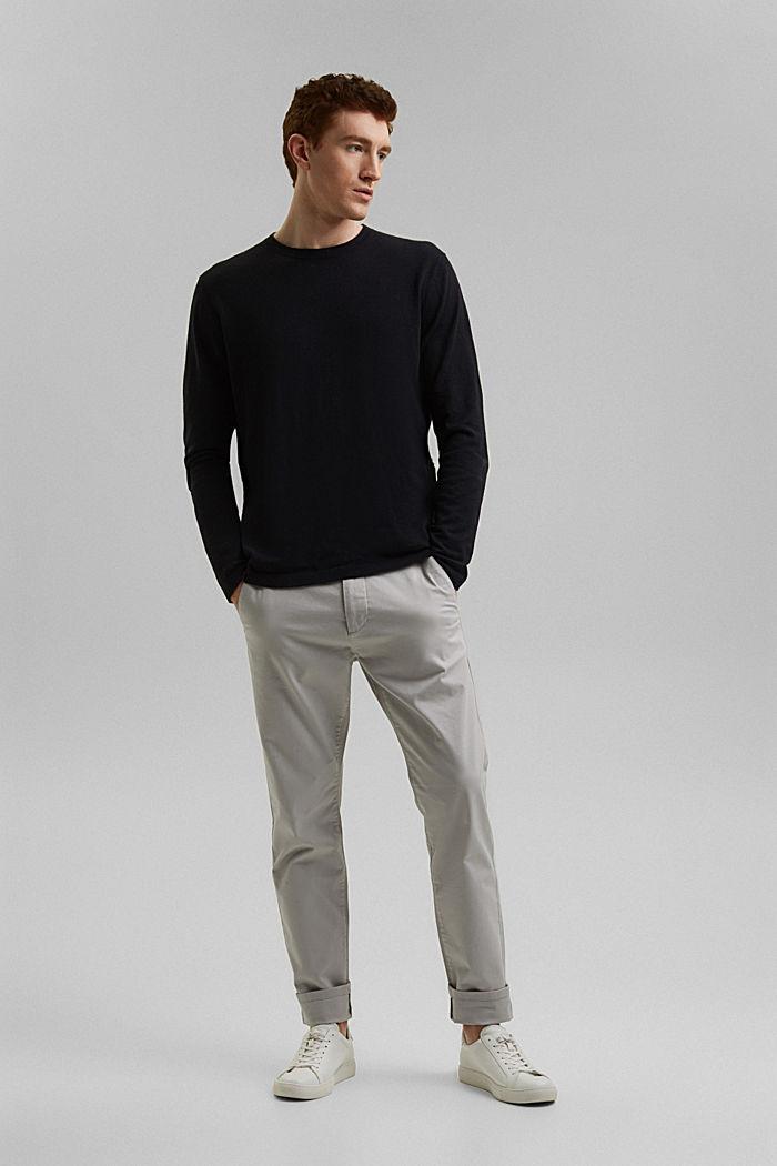 With hemp: Fine knit jumper, BLACK, detail image number 6