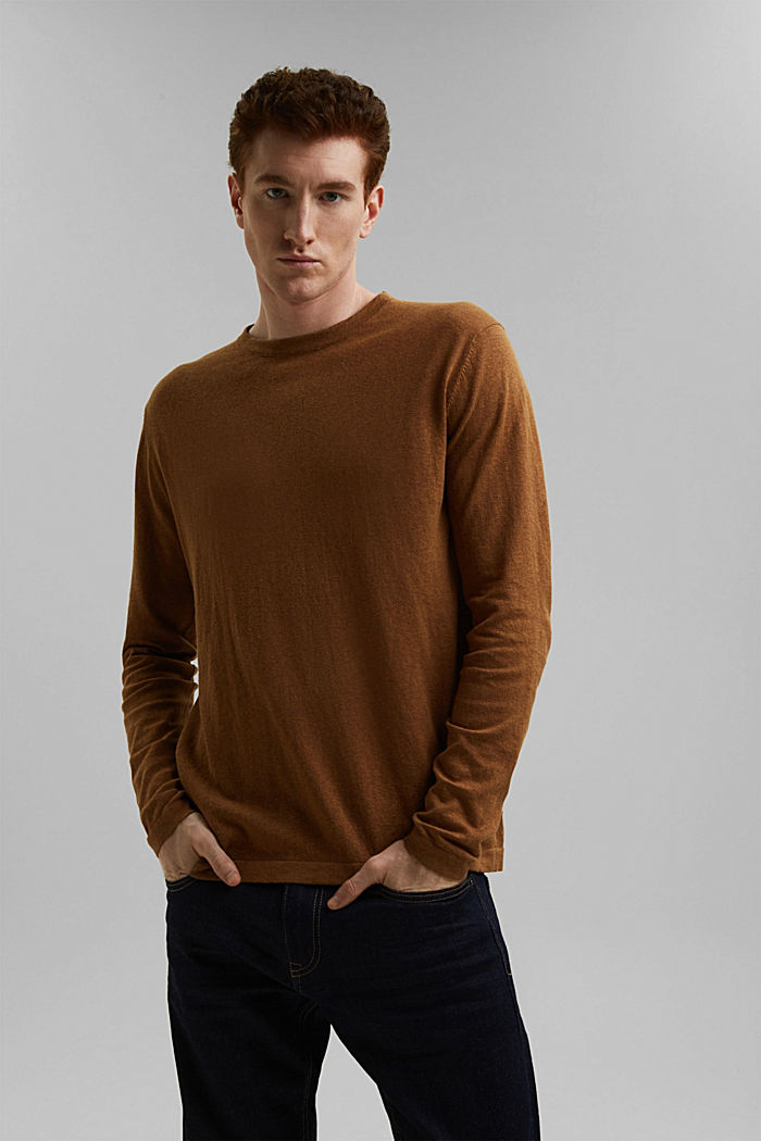With hemp: Fine knit jumper, CAMEL, detail image number 0