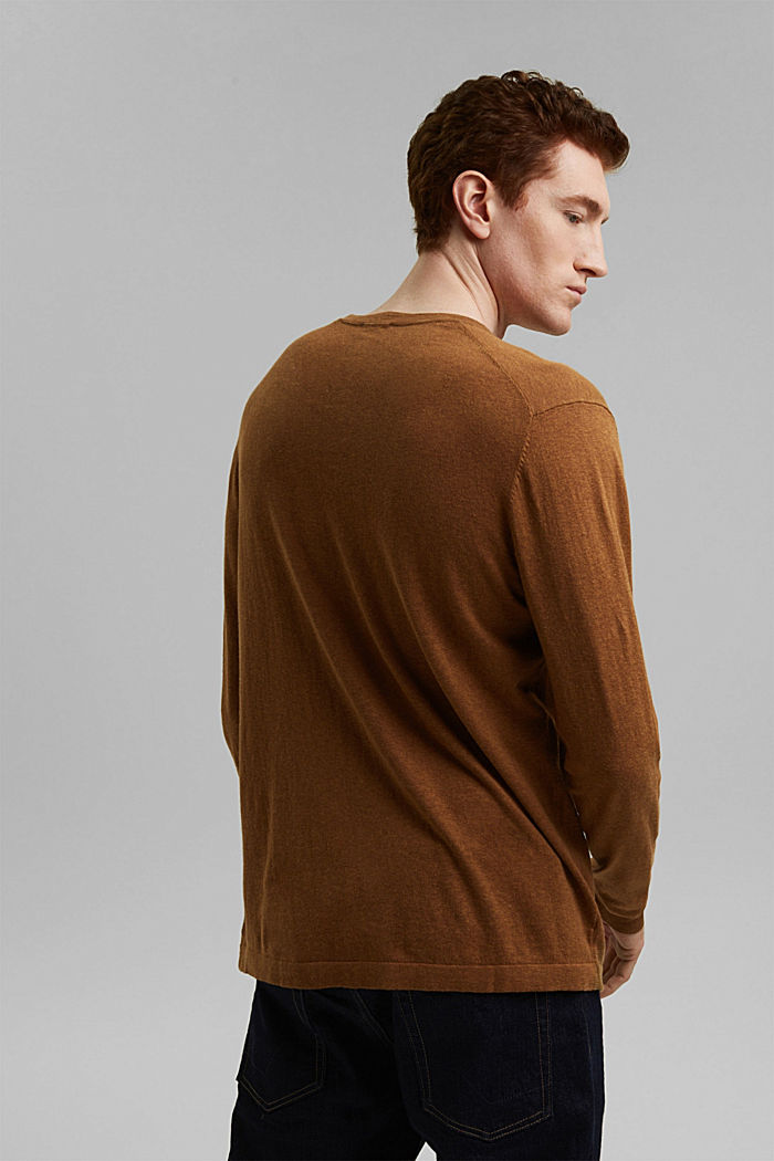 With hemp: Fine knit jumper, CAMEL, detail image number 3