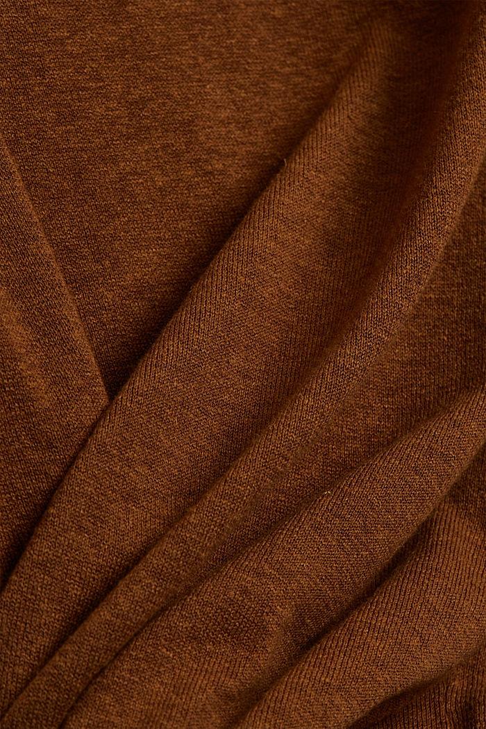 With hemp: Fine knit jumper, CAMEL, detail image number 4