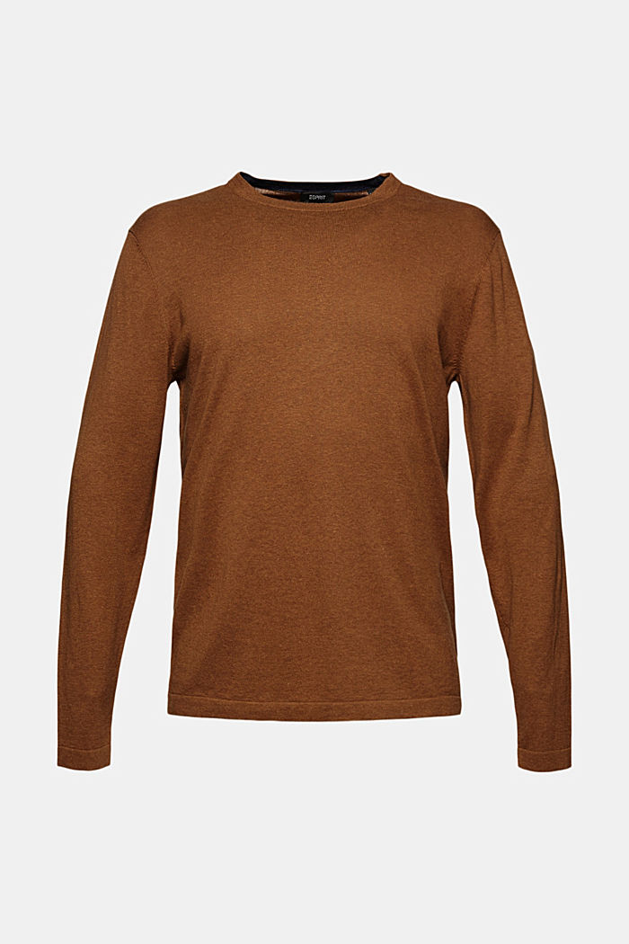 With hemp: Fine knit jumper, CAMEL, detail image number 6