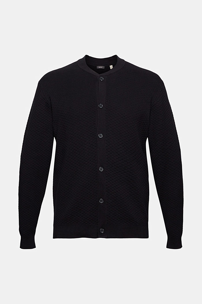 Cardigan made of mercerised organic cotton, BLACK, overview