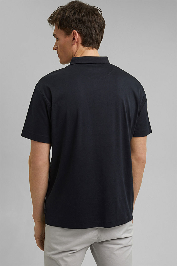 On the move: jersey polo shirt, 100% organic cotton, BLACK, detail image number 3