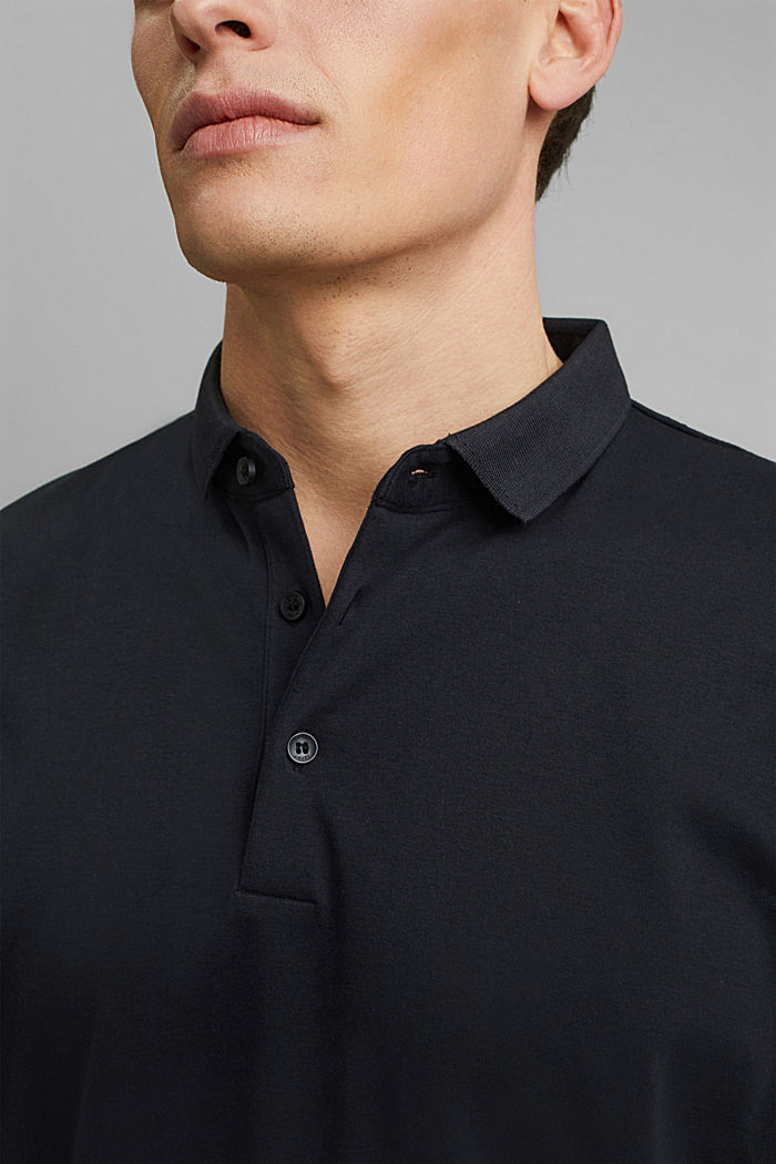 On the move: jersey polo shirt, 100% organic cotton, BLACK, detail image number 1